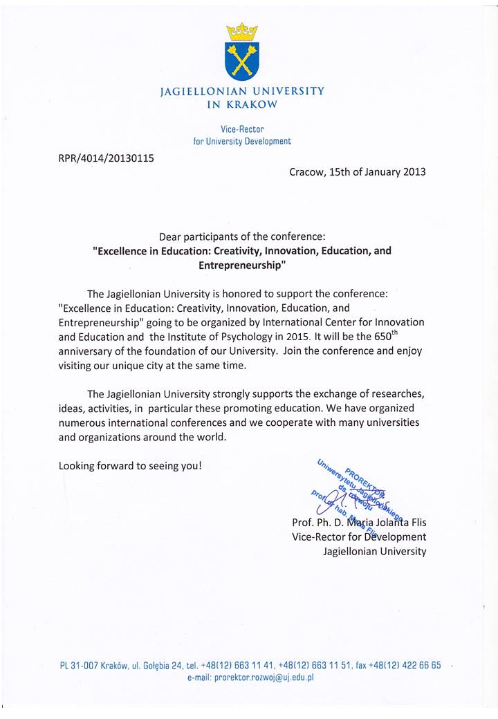 From the Vice-Rector ICIE